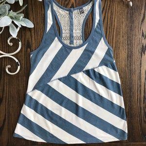 Roxy Tops - Roxy Blue and White Stripe Racerback Tank
